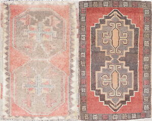 Old Semi Antique Collectable Handmade Geometric 2x3 Wool Oushak Rugs 2 11 X 1 10