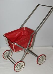 Vintage Antique Baby Doll Buggy Stroller Carriage Toy Pram Vinyl Metal Folding