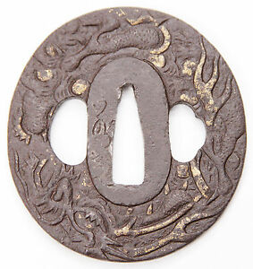 Antique Japanese Tsuba Iron Jakushi Signed Dragon Gold Edo Katana Sword Guard
