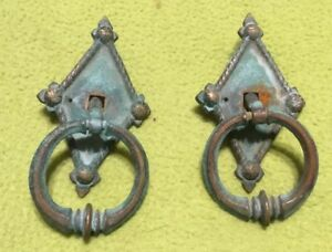 Antique Drawer Pulls Heavy Brass Ring Set Of Two