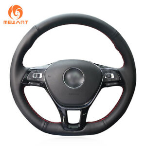 Leather Steering Wheel Cover Wrap For Vw Golf 7 Mk7 New Polo Jetta Passat B8