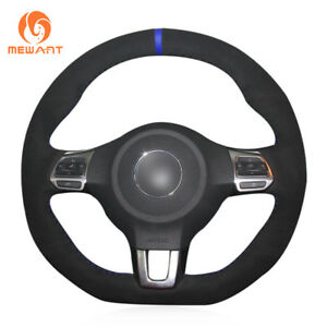 Black Suede Blue Marker Steering Wheel Cover Wrap For Vw Golf 6 Gti Mk6 Polo R