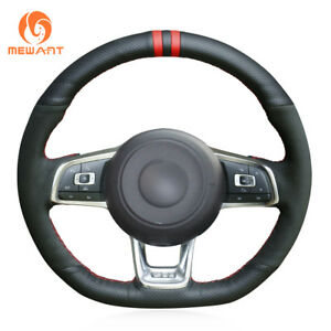 Car Steering Wheel Cover Wrap Around Sewing For Vw Golf 7 Gti Golf R Mk7 Polo