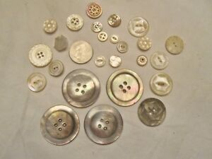 Lot 25 Assorted Fancy Vintage Antique Carved Shell Buttons Includes 4 Xl Abalone