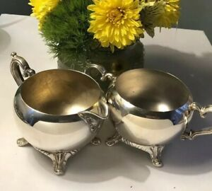 Silver Plated Footed Sugar Bowl And Creamerset Polished Silver