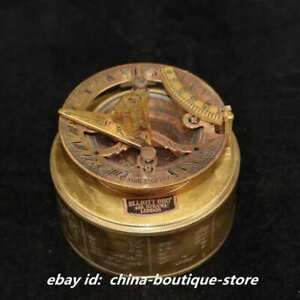 2 8 Collection Chinese Bronze Fengshui Ancient Old Navigation Compass Statue