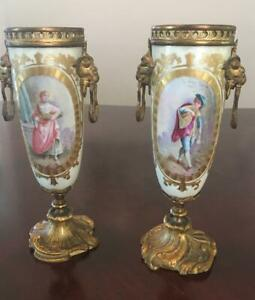 Pair Antique French Porcelain Ormolu Cabinet Vases Figural Urns Rams Heads