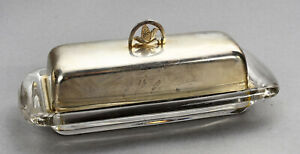 Butter Dish Fisher Sterling Silver Cover 1196 2 12 Ozt Heisey Glass Bottom