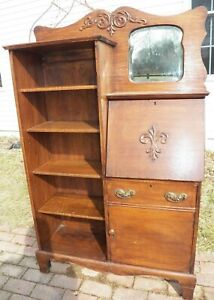 Antique Oak Side By Side Desk With Open Bookcase Mirror Carvings