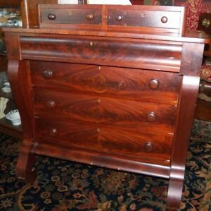 1850 Flame Mahogany Period Empire Chest Of Drawers Dresser