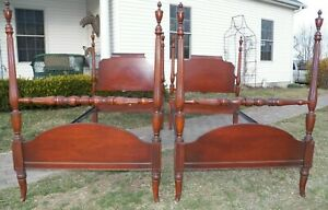 Pair Antique High Post Beds Twin Xl Single Size Extra Long Rails
