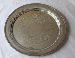 Wm A Rogers By Oneida Silver Plated Large Round Etched Pierced Serving Tray