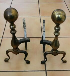 Vintage Brass Metal Ball Fireplace Andirons Hand Forge