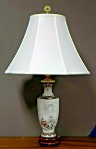 Matched Pair 28 Chinese Porcelain Vase Lamps Winter Scene Asian Oriental