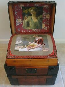 Antique Ca 1870 Dome Top Stagecoach Steamer Half Trunk