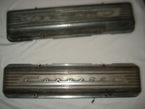 C 1 Corvette 1957 e1959 7 Fin Staggered Hole Aluminum Valve Covers Pair