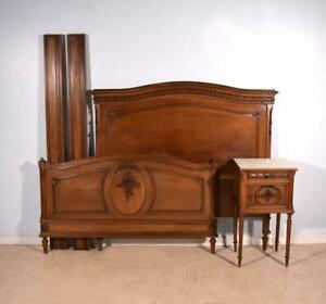 Antique French Louis Xvi Walnut Queen Or Full Size Bed Nightstand