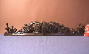 Pair Of French Antique Walnut Wood Brackets Crests Pediments With Finials