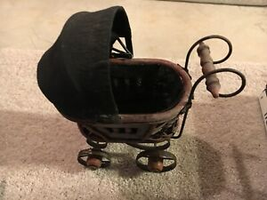 Vintage Baby Doll Pram Carriage Stroller Wicker And Original Canvas 11 Inches