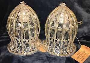 Pair Vintage Crystal Beaded Wall Sconces Made In Italy French Art Deco Lighting