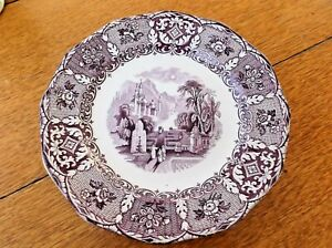 Antique Purple Wedgwood Ironstone English Transferware Dinner Plate