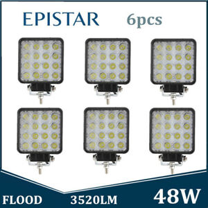 6x 48w Led Work Light Fog Lamp Offroad Tractor Flood Lights 12v 24v Square Ford
