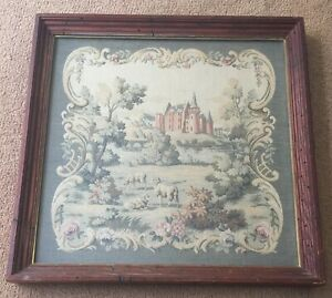 Vintage Framed Tapestry European Castle Victorian Stitched Tapestry