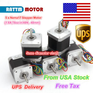usa Stock 5pcs Nema17 Stepper Motor 78oz in 48mm 1 8a For Cnc Router 3d Pinter