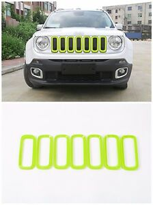 For Jeep Renegade 2015 18 Car Front Grille Inserts Mesh Grill Accessories Green