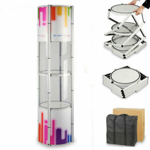 80 Round Portable Spiral Tower Display Case With Top Light And Custom Panels
