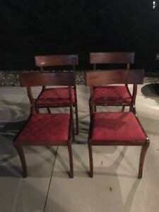Set Of 4 Antique Wood Wide Sturdy Dining Chairs Upholstered Seat