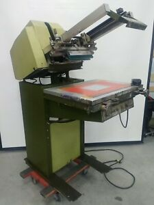 American Screen Printing Cameo 18 Semi Automatic Graphics Printer Vacuum Table