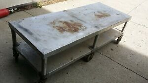 Stainless Steel Cart On Wheels Coffee Table Mixer Griddle Grill Stands