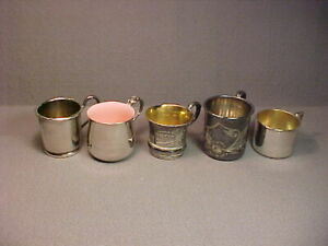 5 Vintage Antique Silver Plate Baby Cups Reed Barton Enamel Rockford Barbour