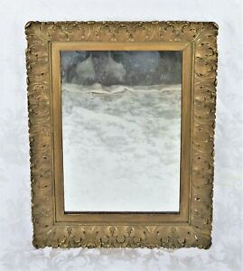 Gorgeous Antique Carved Wood Gold Gilt Gesso Rococo Wall Mirror Picture Frame