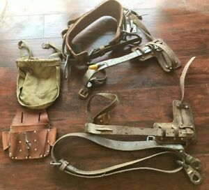 Vintage Buhrke Lineman Pole Climbing Belt Safety Strap buckingham Pole Climbers