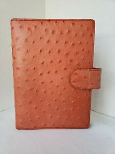 Vintage Neiman Marcus Personal Size Planner Orange Calf Leather Textured Snap