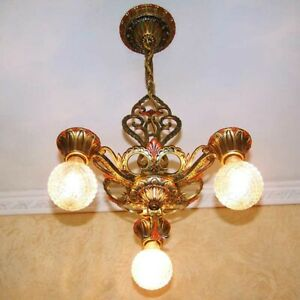 759 Vintage Antique 20 S 30 S Virden Ceiling Light Art Nouveau Chandelier