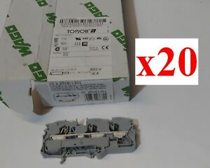lot Of 20 New Wago 2016 1301 Conn Terminal Block 3 Pos T Din Rail 90a