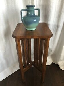 Vintage Mission Oak Arts Crafts Plant Stand Stickley Restoration Hardware 28