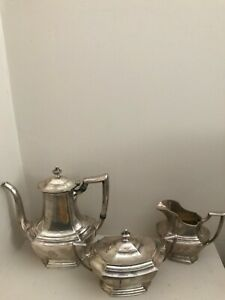 Antique Sterling Silver Tea Set By Wallace 3 Piece Set The Washington 1850