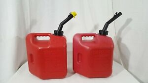 2 Vintage Pre Ban Blitz 2 Gallon 8oz Plastic Gas Can Model Heavy Duty Spout Cap