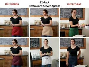 12 pack Restaurant Front Of The House 3 pocket Server Waist Aprons