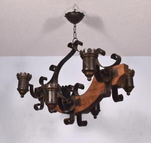 Vintage French Castle Chandelier Hanging Lamp Aix Arms