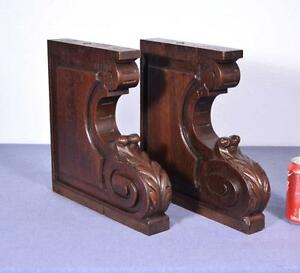 Pair Of Xl Antique French Oak Corbels Brackets Carved Architectural Columns