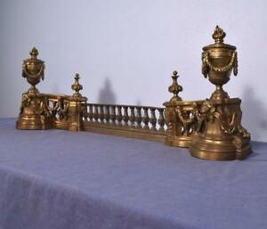 Large Gilt Antique French Louis Xvi Bronze Chenet Andirons Fireplace Set