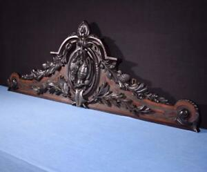 56 Xl French Antique Hunting Crest Pediment Crown In Solid Walnut Wood