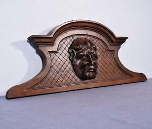 29 French Antique Pediment Crest In Walnut Wood With A Man S Face Salvage