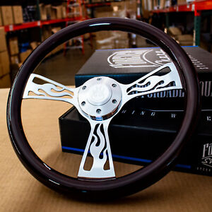 15 Chrome Flame Steering Wheel Dark Wood Grip With Horn Button