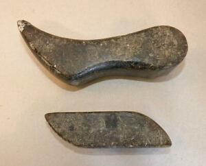 Pair Of Well Used Inuit Soapstone Hide Burnishers